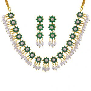 Sri Jagdamba Pearls Green Stone Necklace Set Code Jpsep-16-014