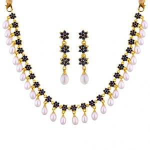 vipul,port,fasense,triveni,jagdamba,sangini,cloe,Jagdamba Pearl Necklaces - Sri Jagdamba Pearls Apurva Pearl With Green Stone Necklace Set Code JPSEP-16-046