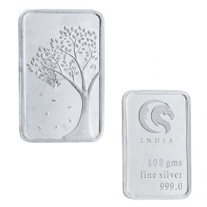 Asmi,Jagdamba,Sukkhi,Port,M tech,M tech Jewellery - Sri Jagdamba pearls 100 grams 99.9% silver Bar coin Code JPSEP-16-053-100