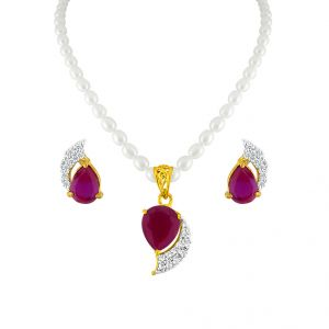 Jagdamba,Mahi,Flora,Tng Women's Clothing - Sri Jagdamba Pearls Red Drop Set Code JPSEP-16-067P
