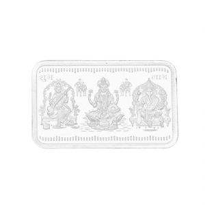 Triveni,Platinum,Jagdamba,Estoss,Surat Diamonds,Cloe Silver Coins - 5 Grams Rectangular Ganesh Saraswathi Lakshmi Rectangle Pure Silver coin ( JPSEP-18-351-5 )