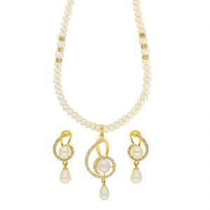 Jagdamba,Avsar,Lime Women's Clothing - Dazzled Pearl Necklace ( JPSEP-18-51 )