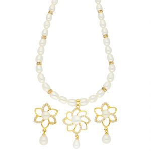 rcpc,ivy,soie,bagforever,flora,triveni,jagdamba Necklace Sets (Imitation) - Modesty Pearl Necklace ( JPSEP-18-55 )