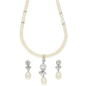 jagdamba,valentine Fashion, Imitation Jewellery - Czorable Pearl Necklace ( JPSEP-18-61 )
