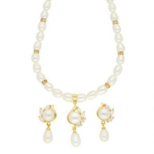 Jagdamba,Surat Diamonds,The Jewelbox Women's Clothing - Altruism Pearl Necklace ( JPSEP-18-63 )