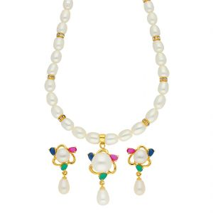 surat tex,soie,jagdamba,sangini,jpearls,lime Necklace Sets (Imitation) - Czmirable Pearl Necklace ( JPSEP-18-64 )