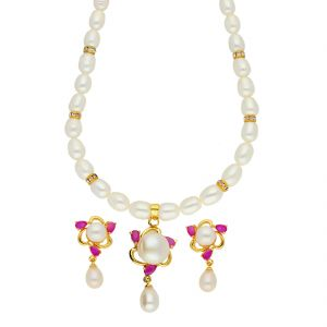Jagdamba,Clovia,Sukkhi,Estoss,The Jewelbox,Arpera Women's Clothing - Ambitious Pearl Necklace ( JPSEP-18-66 )