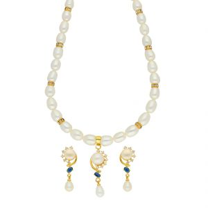 Kiara,Sparkles,Lime,Jagdamba Women's Clothing - Brilliant Pearl Necklace ( JPSEP-18-67 )