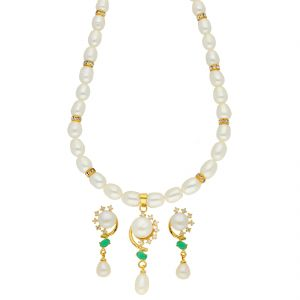 Jagdamba,Avsar,Lime,Valentine Women's Clothing - Breeziness Pearl Necklace ( JPSEP-18-68 )