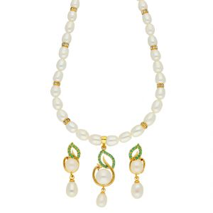 Platinum,Port,Mahi,Jagdamba Women's Clothing - Charming Pearl Necklace ( JPSEP-18-69 )