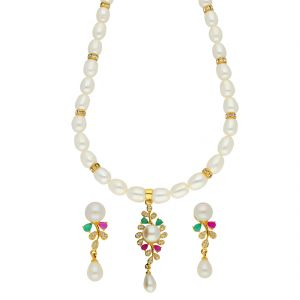 Jagdamba,Avsar,Lime,Flora,Ag Women's Clothing - Cheerful Pearl Necklace ( JPSEP-18-71 )