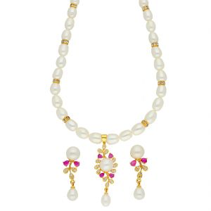 Jagdamba,Clovia,Vipul Women's Clothing - Desirable Pearl Necklace ( JPSEP-18-73 )