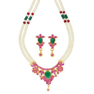 Jagdamba,Avsar,Lime Women's Clothing - Magenta Pearl Necklace ( JPSEP-18-74 )