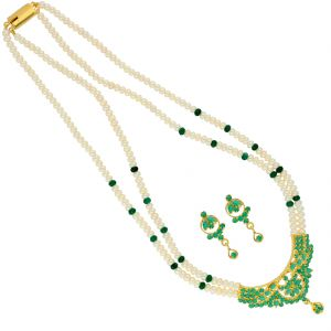 Avsar,Ag,Lime,Jagdamba Women's Clothing - Hazel Pearl Necklace ( JPSEP-18-75 )