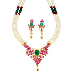 Kiara,Sparkles,Lime,Jagdamba Women's Clothing - Siaara Pearl Necklace ( JPSEP-18-76 )