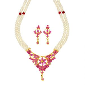 Jagdamba,Avsar,Lime,Kiara,Asmi Women's Clothing - Grace Pearl Necklace ( JPSEP-18-77 )