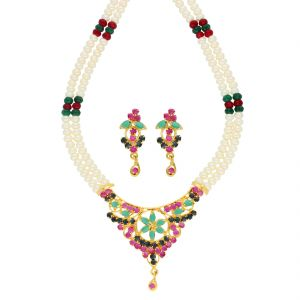Jagdamba,Kalazone,Flora,Vipul Women's Clothing - Shinning Star Necklace ( JPSEP-18-78 )
