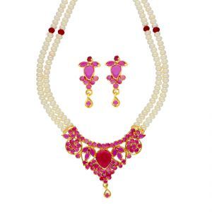 jagdamba,surat diamonds,valentine,jharjhar,asmi,tng Necklace Sets (Imitation) - Gorged Pearl Necklace ( JPSEP-18-79 )