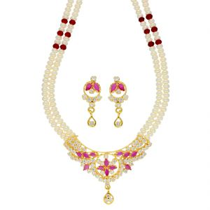 Hoop,Kiara,Oviya,Gili,Parineeta,Jagdamba,Cloe,Surat Tex Women's Clothing - Dynamic Pearl Necklace ( JPSEP-18-80 )