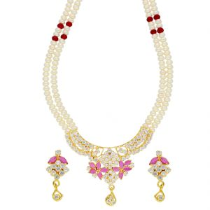 jagdamba,clovia,vipul,cloe Necklace Sets (Imitation) - Flourish Pearl Necklace ( JPSEP-18-81 )