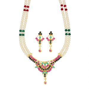kiara,sparkles,jagdamba,diya,bikaw Necklace Sets (Imitation) - Goddesspearl Necklace ( JPSEP-18-82 )
