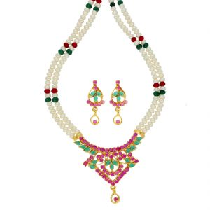 lime,surat tex,soie,jagdamba,sangini,triveni Necklace Sets (Imitation) - Graciousness Pearl Necklace ( JPSEP-18-83 )