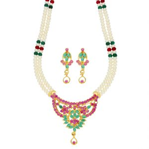 Platinum,Port,Mahi,Jagdamba Women's Clothing - Leela Pearl Necklace ( JPSEP-18-84 )