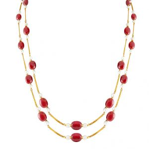 Jagdamba,Kalazone,Flora Women's Clothing - Jpearls Ruby Gold Chain