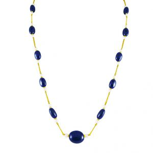 Jpearls Blue Saphire Gold Chain