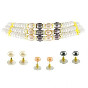 Sri Jagdamba Pearls 3line Multi Color Choker Pearl Set-jpsep-9-1143