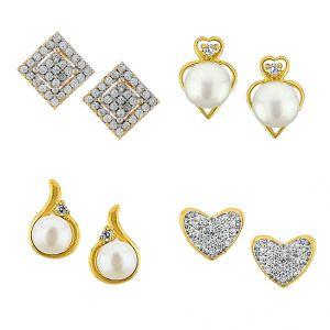 Pearl Earrings - Sri Jagdamba Pearls Set Of Four Pair Earrings -JPV-17-03