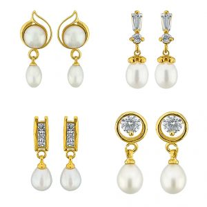 Jagdamba,Avsar,Kiara Pearl Jewellery - Sri Jagdamba Pearls Set Of Four Pair Ear Hangings -JPV-17-04