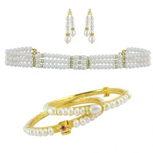 Sri Jagdamba Pearls Mena Choker Set With Bangle -jpv-17-11