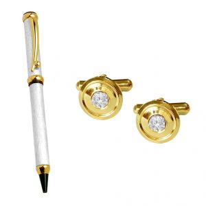 triveni,pick pocket,jpearls,surat diamonds,Jagdamba Men's Accessories - Sri Jagdamba Pearls Special Cufflinks With Pen - JPV-17-16