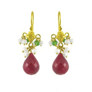 Lime,Jagdamba Women's Clothing - Jpearls Go-maroon Gold Earrings