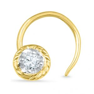 Jpearls 18 Kt Gold Gemma Diamond Nose Pin