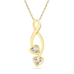 Jpearls 18 Kt Gold Valentines Day Special Heart Beat Diamond Pendant