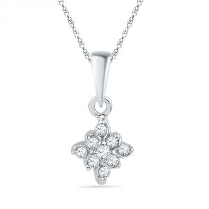 Diamond Pendants, Sets - JPEARLS  FLOWER SHAPE DIAMOND PENDANT