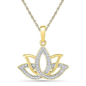 Sri Jagdamba Pearls Lotus Diamond Shape Pendant Code Pf020734