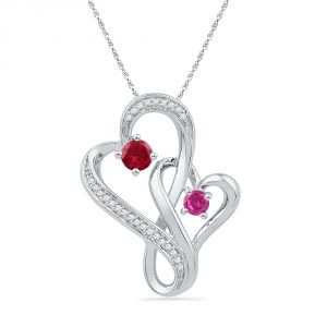 Jpearls 18 Kt Gold Two Hearts Diamond Pendant