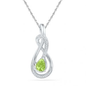 Peridot With Sterling Silver Diamond Pendant Code-pf101068-pr-ss
