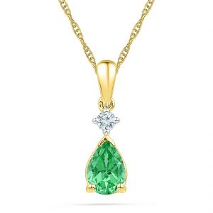 Sri Jagdamba Pearls Emerald With Diamond Pendant ( Code-pf101128-lem )