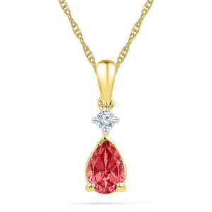 Sri Jagdamba Pearls Ruby With Diamond Pendant ( Code-pf101128-lru )