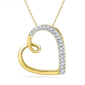 Jpearls 18 Kt Gold Royal Heart Diamond Pendant