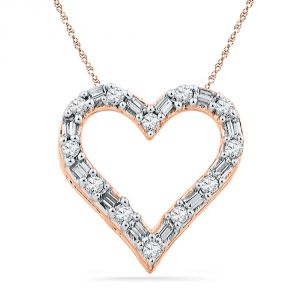 Jpearls 18 Kt Rose Gold Sweet Heart Diamond Pendant