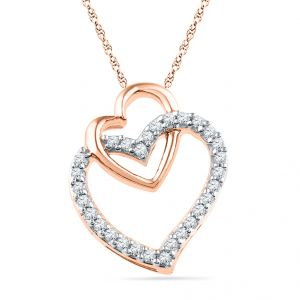 Lime,Surat Tex,Soie,Jagdamba Women's Clothing - Jpearls Rose Gold Dual Heart Pendant :