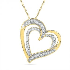 Jpearls 18 Kt Gold You N Me Heart Diamond Pendant