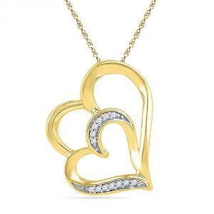 Jpearls 18 Kt Gold Luscious Hearts Diamond Pendant