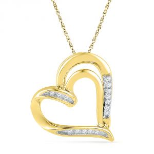 Jpearls 18 Kt Gold Beloved Heart Diamond Pendant