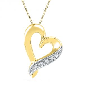 Jpearls 18 Kt Gold Adrorable Heart Diamond Pendant